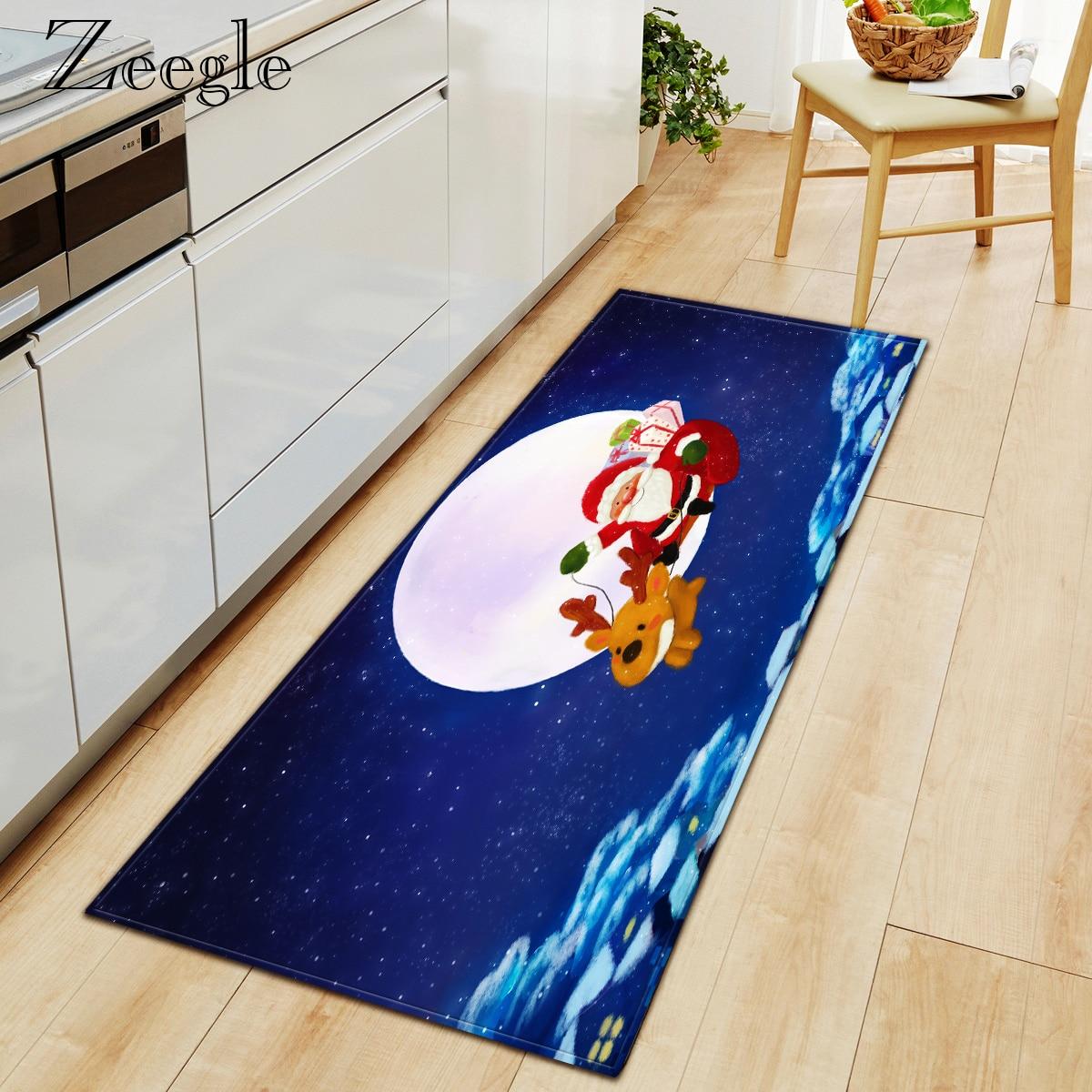 Zeegle Rug Christmas Printed Carpet Anti-slip Water Absorbent Entrance Doormat Bedroom Doormat Hallway Carpet Soft Foot Mat