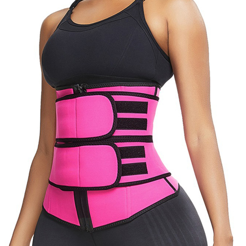 Apparel - Women Waist Trainer Corset Trimmer Belt Body Shaper Slimming with Zipper Weight Loss Neoprene Work Out Wear