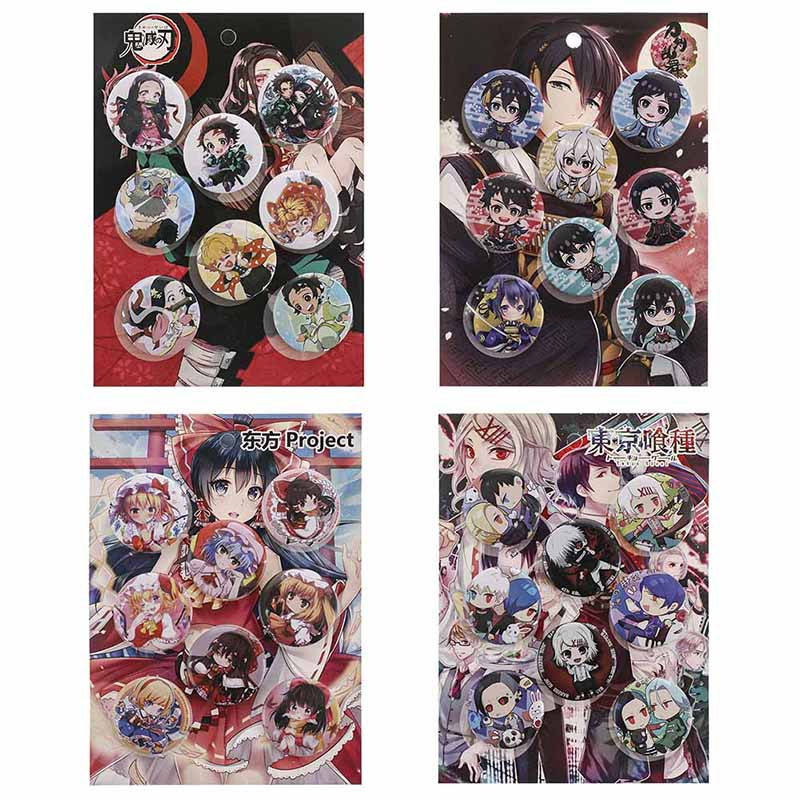 Kimetsu no Yaiba Pins Anime Accessories Badges for Clothes Cap Backpack Anime Demon Slayer Button Pins Set - 2.28 in Diameter 7 Pack