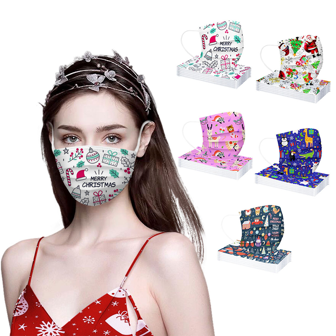 Christmas printing adult mask ear-hook three-layer mask professional windproof mouth and nose mask mixed 50PCS mascherine 50*
