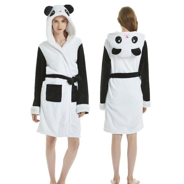 Women/'s Bathrobe Panda Unicorn Adults Flannel Bath Robe Men Nightgown Robe Kigurumi Pajamas pajama sets nightgowns sleepshirts