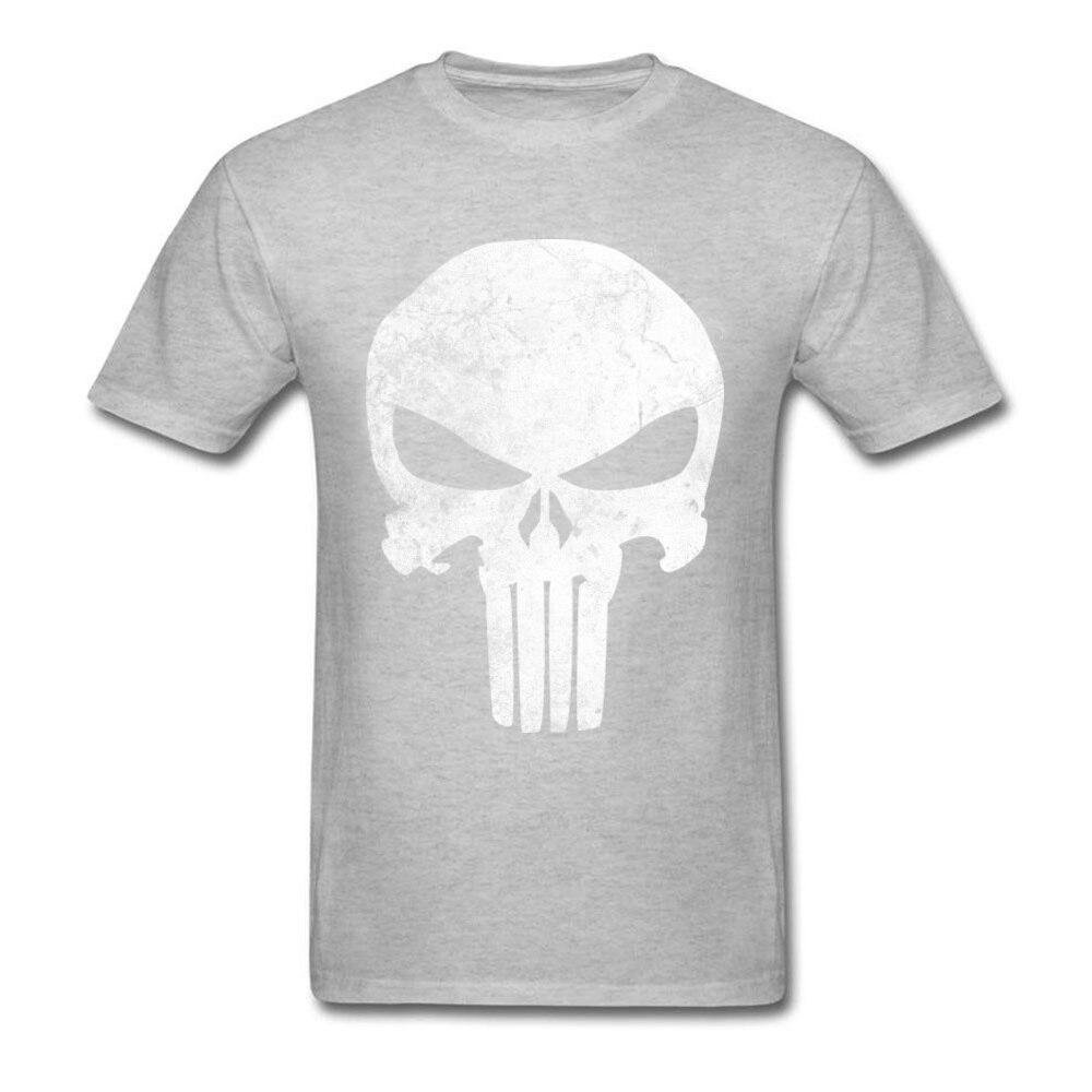 Slim Fit Men T-Shirt Punisher_Skull_Grunge_97 Print T Shirt Cotton Short Sleeve Printed On Tee-Shirt Crewneck Free Shipping Punisher_Skull_Grunge_97 grey