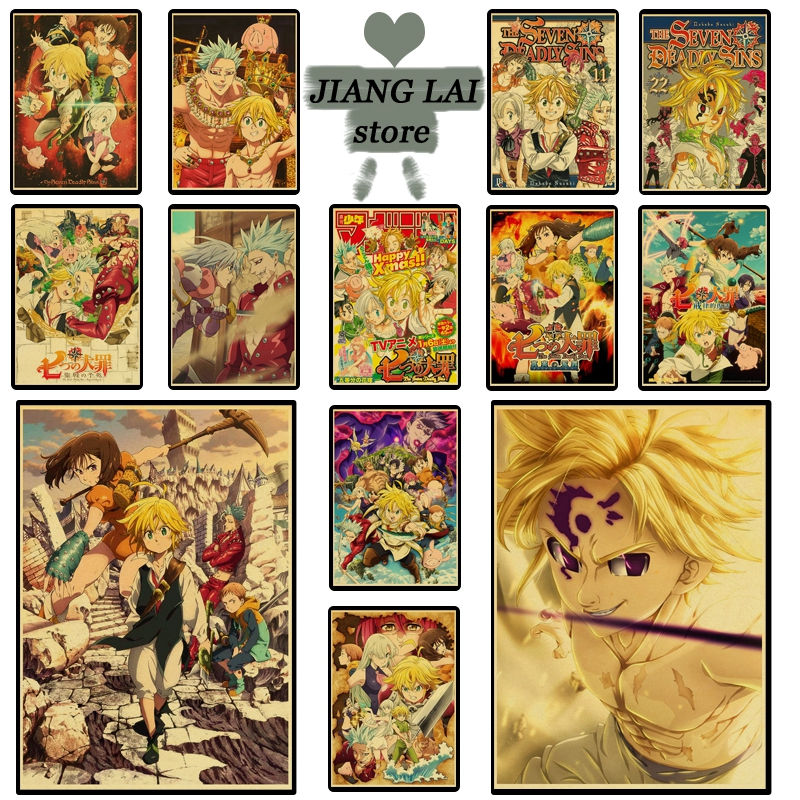 Hot anime The Seven Deadly Sins poster cartoon retro poster Prints Wall Painting high Quality Decor Poster Home Decoration