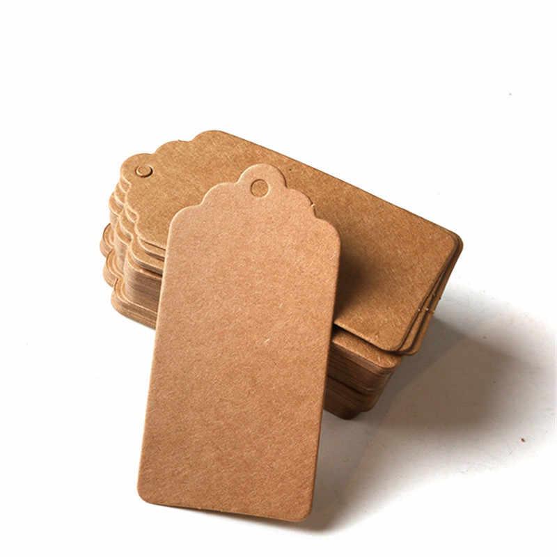100Pcs DIY Brown Kraft Paper Hang Tag Lace Multi Shapes Label Wedding Note Craft