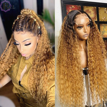 RULINDA Ombre Colored Curly Lace Front Human Hair Wigs 250% Density Brazilian Remy Hair 360 Lace Frontal Wigs With Baby Hair(Китай)