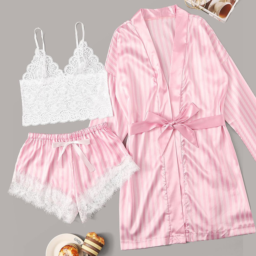 Robe Sleepwear-Set Pajamas Shorts Satin Lace Stripe Women 3PC -C20 Bra Camisole  title=