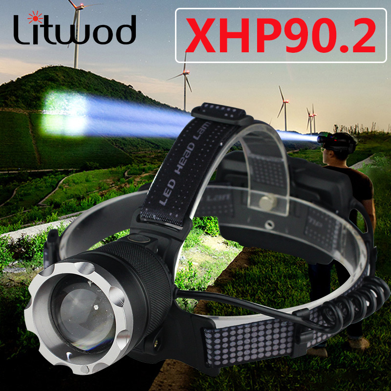 XHP90.2 Most Powerful Led Headlamp Built Cooling Fun Headlight Lamp Head Comping Flashlight Torch Zoom 18650 Rchargeable Battery