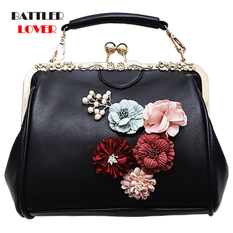 Clip Small Square Bag Female Fashion Dinner Flower Shoulder Diagonal Handbag Bags 2020 Metal Women Floral Single Versatile Hasp