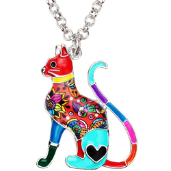 Bonsny эмалированный сплав элегантный цветочный котенок Подвеска с изображением кошки воротник Мода животное ювелирные изделия для женщин де...