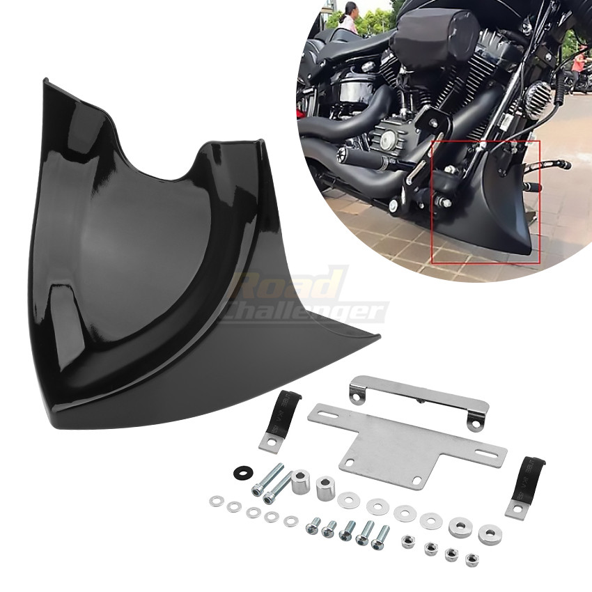 PSLER Motorcycle Chin Lower Fairing Front Spoiler Air Dam Covers for Sportster 2004-2017 Fatboy 2004-2017 Softail 2004-2017 Touring Glide 1996-2017 Dyna 2004-2017 Bright black