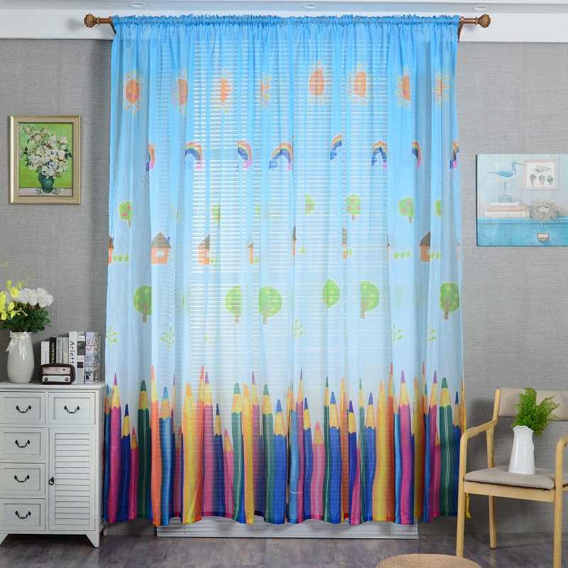 Colorful pencil Blackout Curtains Kids Lovely Cartoon style for Living Rooms Children Bedrooms  3d Tulle Curtains Decoration