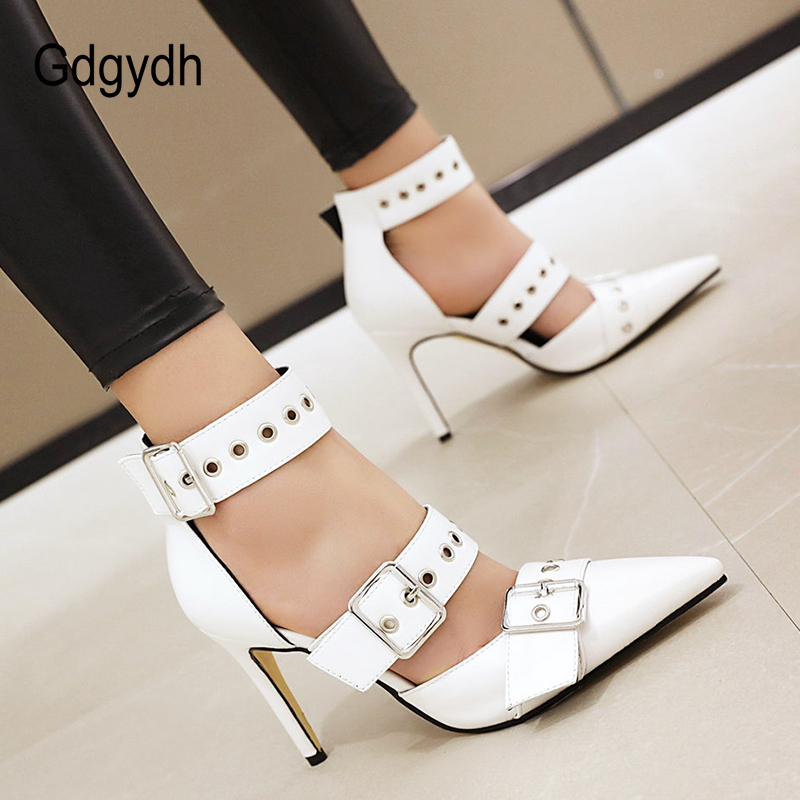 Gdgydh Black Punk Gothic High Heels Sexy Plus Size Pointed Toe Fashion Buckle Rivet Women Pumps Wedding Shoes Stiletto Heels New