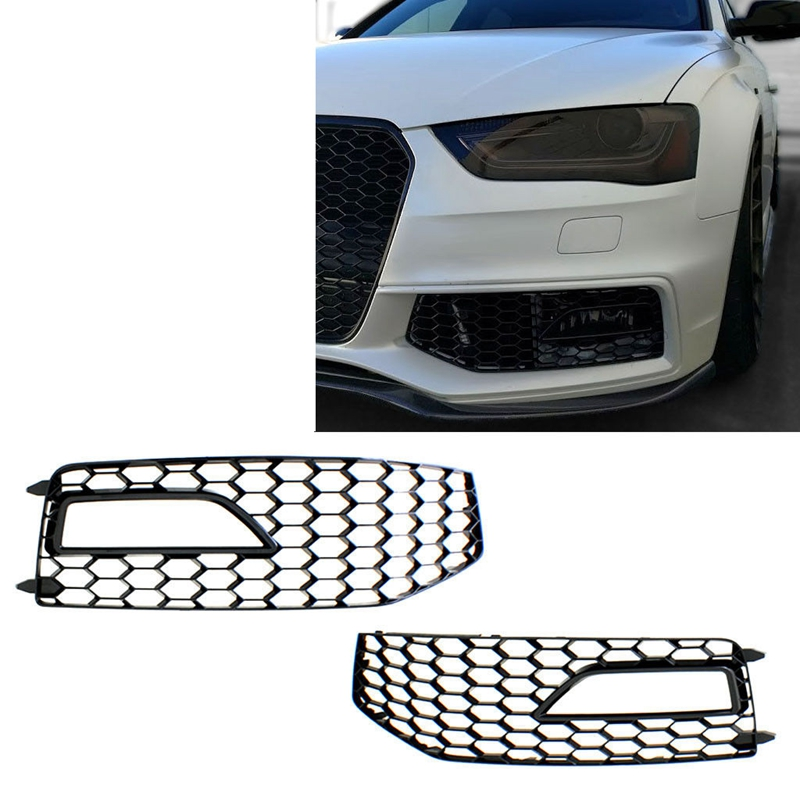 For Audi A4 B8 2012-2015 S4 S-Line Car Front Grille Mesh Side Front Lower Bumper Fog Light Grille Cover Facelift ABS Left//Right