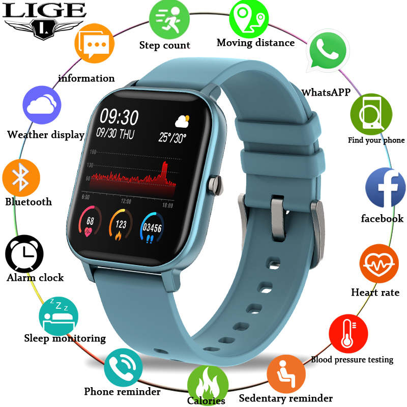LIGE 2020 New Luxury Watch Men Fitness Tracker IPX7 Waterproof For Android ios LED Full Touch Screen Fashion Sports Woman Watch title=