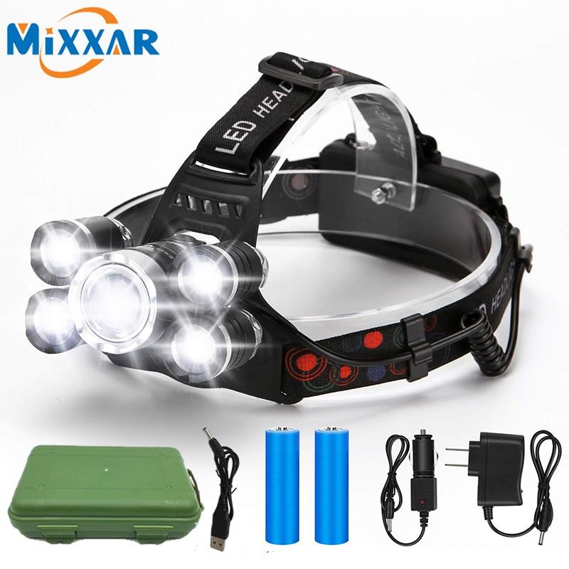 50000LM XM-L L2 LED 5-Head USB Headlamp Headlight 3-Charger 18650 Battery Kits