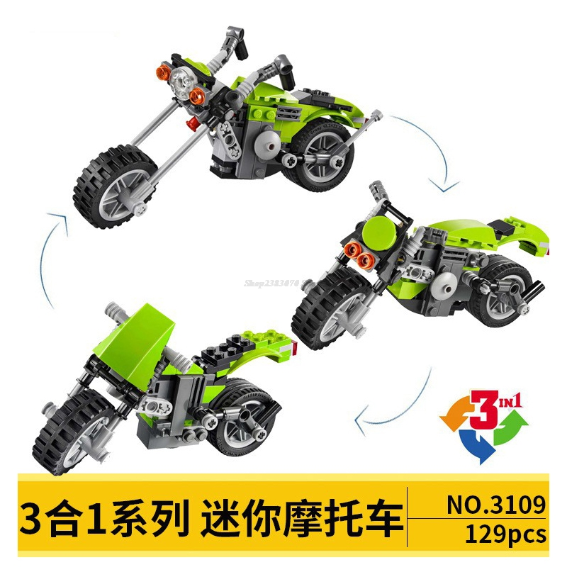 Legoing MOC City Sets Technic Car Figure Triple Building Blocks Toys Mini Motorcycle Parts 129PCS DIY Gifts Citys Legoingly Doll
