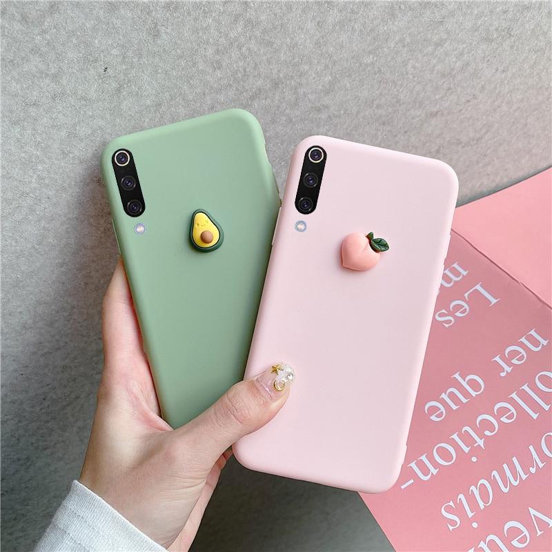 3D Fruit Peach Grape Silicone Case For Xiaomi Redmi Note 5 6 7 Pro S2 Mi A1 A2 A3 8 Lite 8SE 9 SE CC9 CC9e Cover Soft Matte