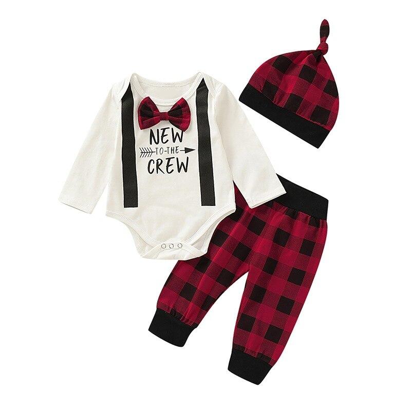 Осенний комплект для маленьких мальчиков и девочек, комбинезон с длинными рукавами и буквенным принтом, топы, клетчатые брюки, шапка, комплекты одежды