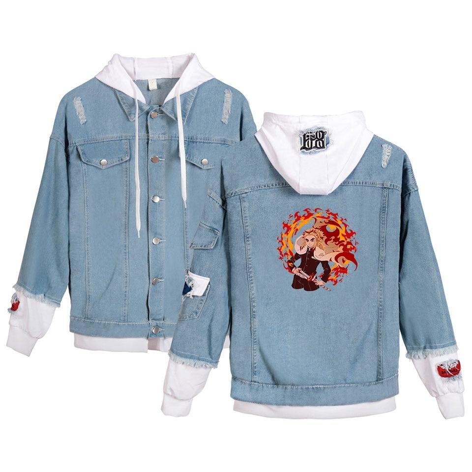 hot korea Anime Demon Slayer High-Quality Fake Denim Jacket Men girl Long Sleeve Pockets Hooded Jackets Streetwear Clothes