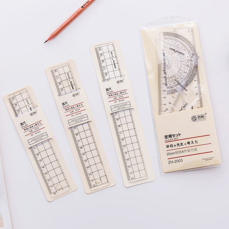 1 Pcs Transparent Simple Style Plastic Ruler Escolar Student Office Learn Stationery Drawing School Supplies