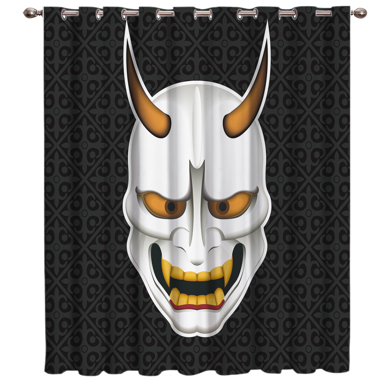 Japanese Samurai Mask Window Treatments Curtains Valance Window Curtains Dark Outdoor Bedroom Kitchen Fabric Decor Kids Curtain