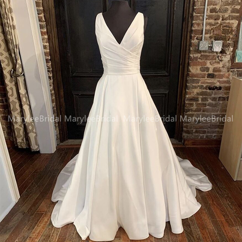 Custom Made Satin Wedding Dresses 2020 A Line V Neck White Ivory Lace Up Back Wedding Bridal Gowns Vestido De Noiva Chapel Train