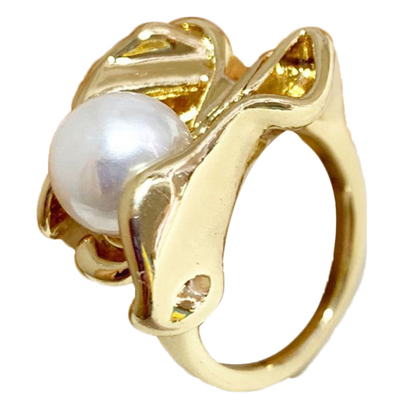 Imitation Pearls Personality Fold Geometric Gold Color Metal Irregular Finger Rings for Women Girls Party Jewelry Gifts
