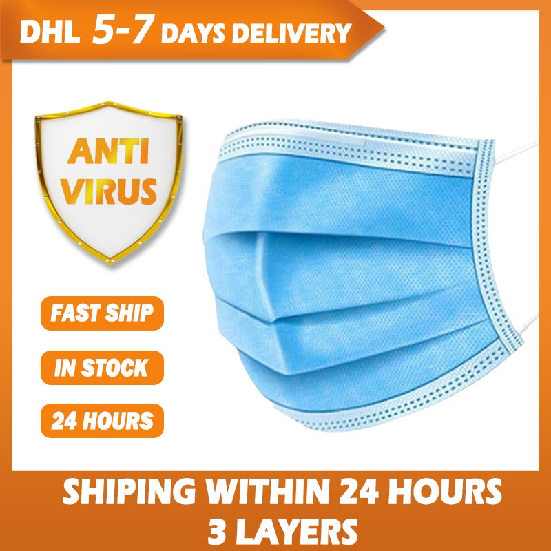 100pcs Face Mouth Anti Virus Protective Mask Disposable 3 Layers Filter Earloop Non Woven Mouth Masks Shipping within 24 Hours title=