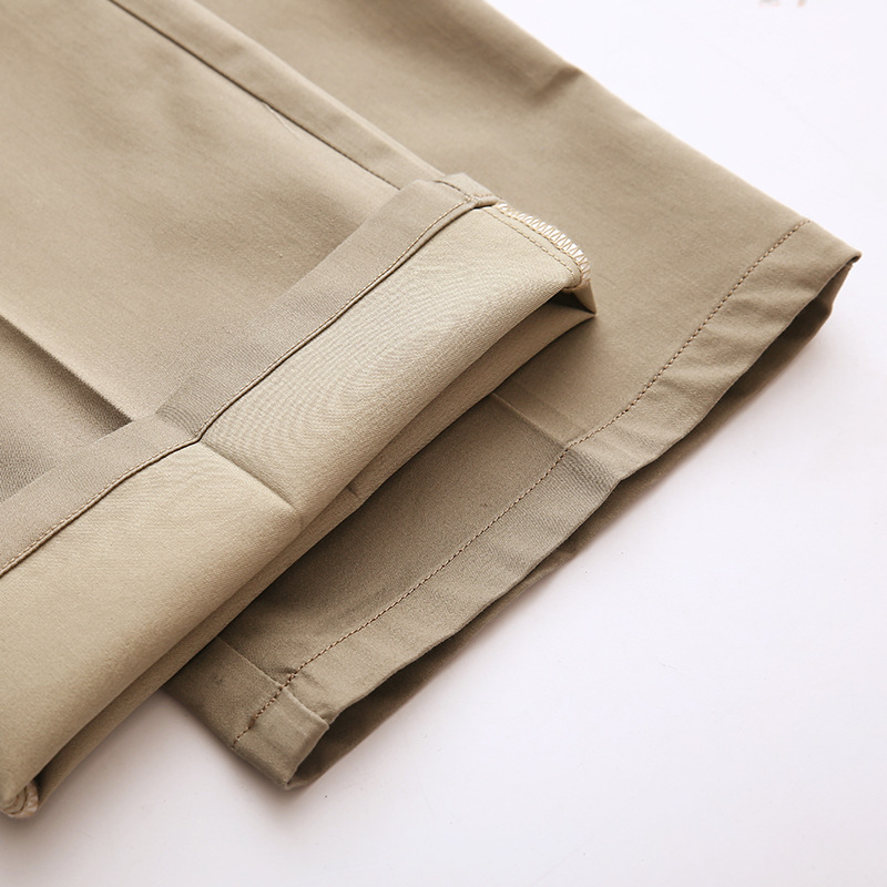 US Big Tall Mens Clothing High Waist Trousers Long Leg Length 120cm Height 200cm Male Work Pants Summer Cotton Mens Khaki Pants