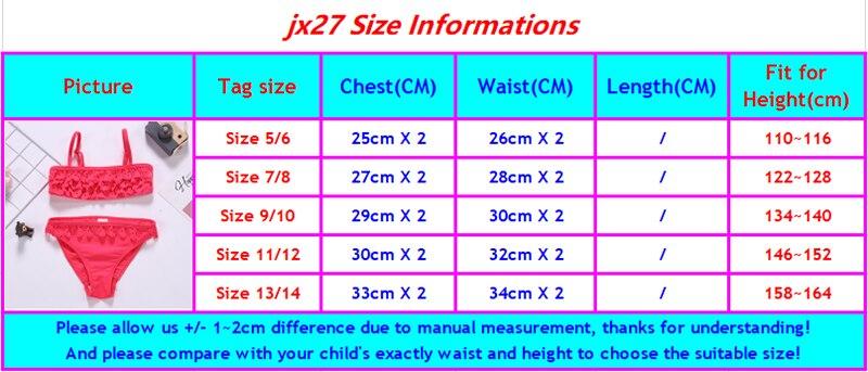 jx27 size chart