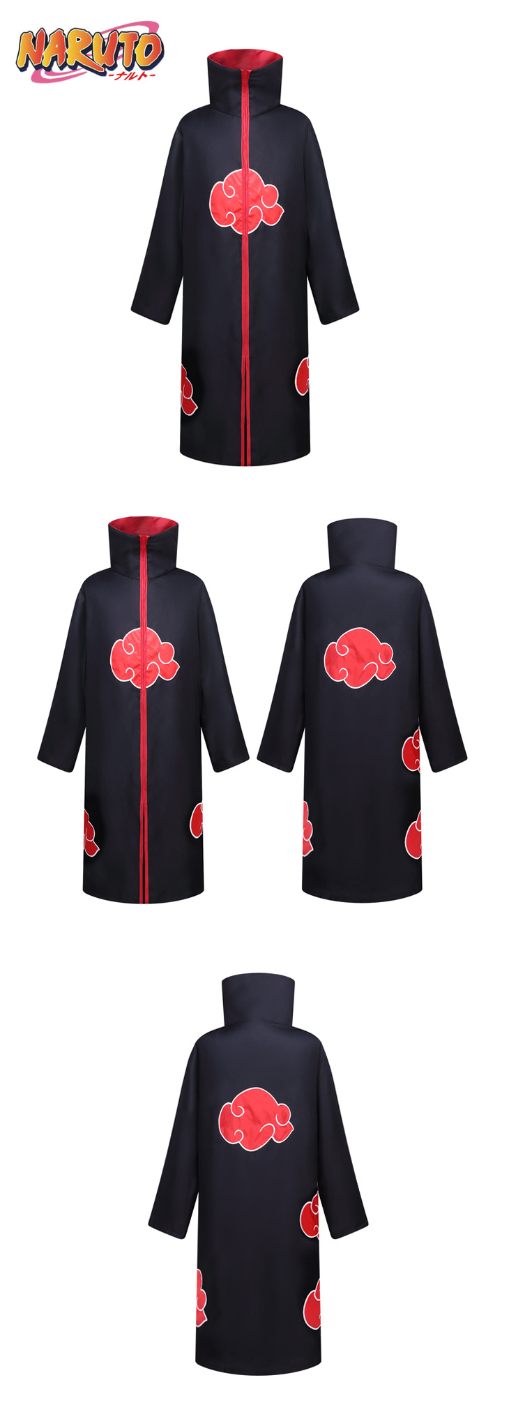 Halloween Fancy Dress Cloak Ninja Costume Embroidery Red Cloud Robe Unisex Zipper Long Sleeve Uniform Cosplay Hooded