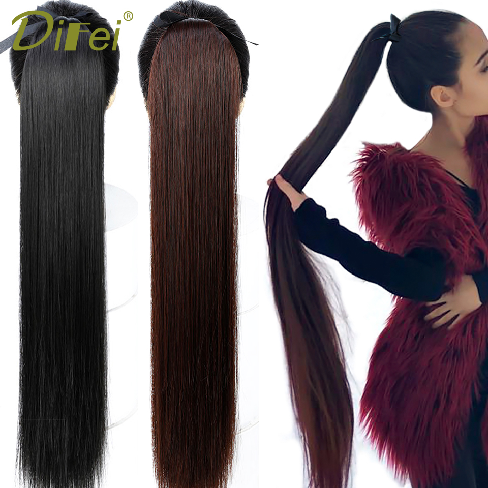 DIFEI Synthetic Ponytail Hairpiece Drawstring Heat-Resistance Clip-In Straight Long Black/brown title=