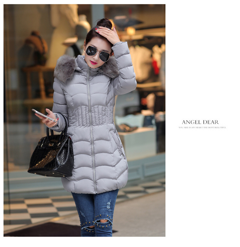 Winter Long Women Coats Parkas Slim Pleated Black Female Coat Outwear Fashion Disassembled Hooded Cotton Women Jackets MLD1271 3