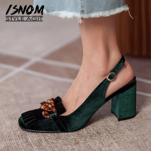 ISNOM Summer Chunky High Heel Fringe Sandals Women Retro Velvet Emerald Slingback Buckle Chain Tassel Pumps Banquet Shoes
