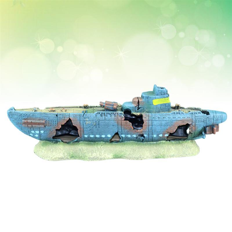accesorios perfectos para escondites de peces ASCENDTING dise/ño de barco de guerra para acuario Adorno de resina para acuario