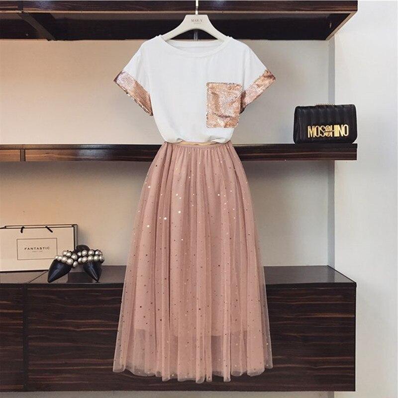 2020 Fashion Summer Women/'s 2 Pieces Set Sweet Sequinss Embroidery Cotton T-shirt +Stars Mesh Skirt Elegant Female Suits