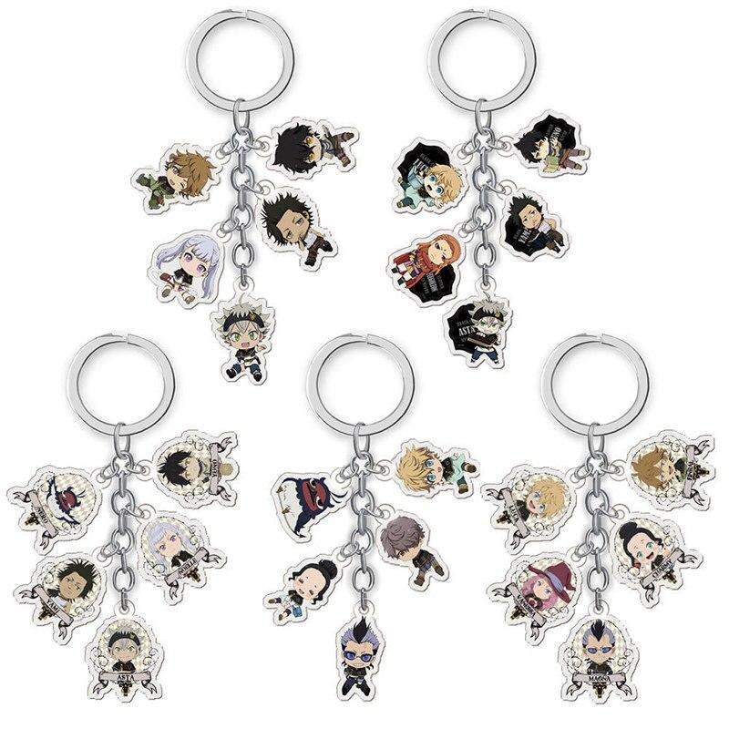 Japanese Anime Black Clover Keychain Cartoon Figure Car Key Chains Holder Keyrings Best Friend Graduation Christmas Day Gift