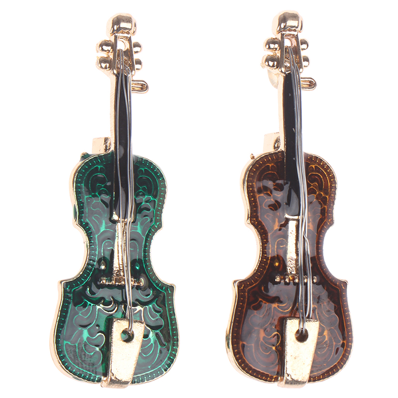 Musical Violin Brooches Enamel Stainless Steel Alloy Brooch Pins Girls Scarf Sweater Clips Badges Jewelry 2 Colors