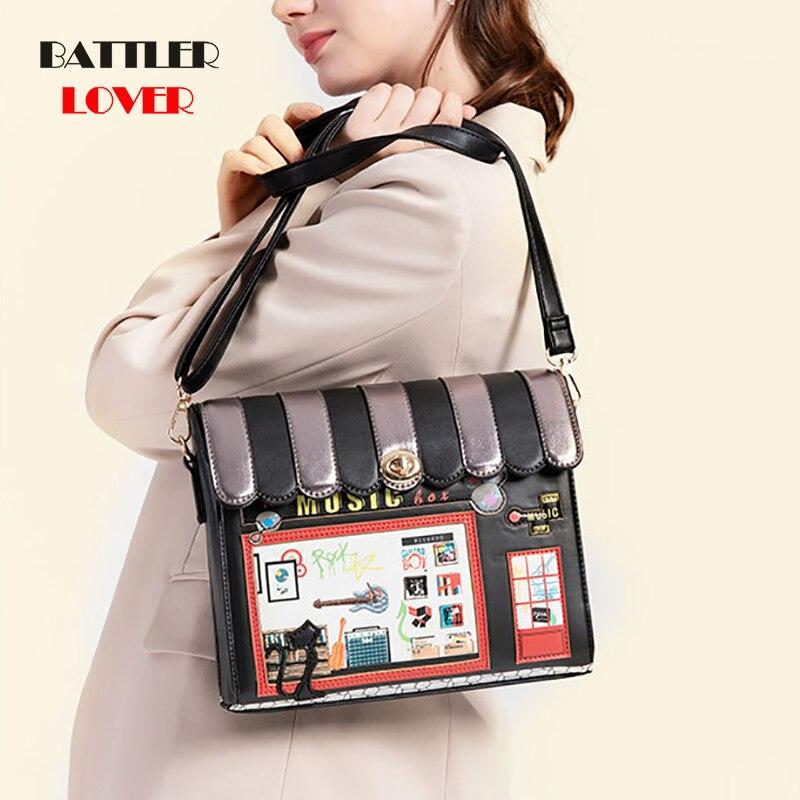 Shoulder Message Bag Gift House Shape Handbag Luxury Design For Women 2020 Leather Womens Crossbody Flaps Cartoon Printing