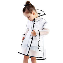 Kids Raincoat Clear Transparent Waterproof Children School Kindergarten Student