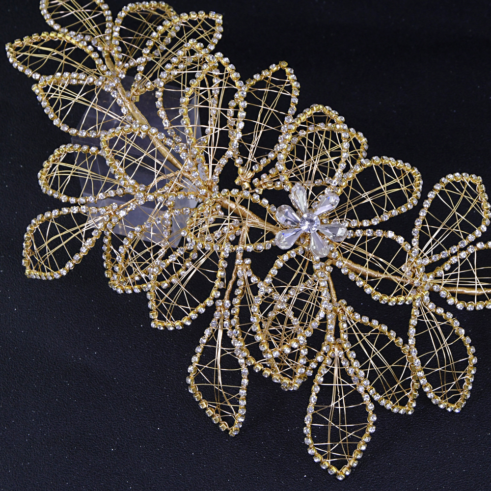 TRiXY H256-G Delicate Rhinestone Wedding Headpiece Hair Clips Vine Rhinestone Floral Bride Hair Accessories Bridal Hair Jewelry