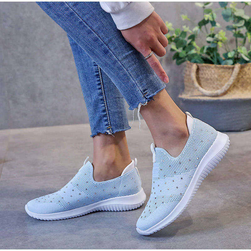 Women Knitting Sock Slip On Rhinestone Casual Flats Footwear
