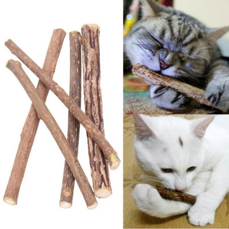 5pcs Pet Cat Kitten Wood Pure Natural Catnip Pet Cat Molar Toothpaste Stick Cat Cleaning Teeth Teeth Cat Snacks Pet Supplies set (3)