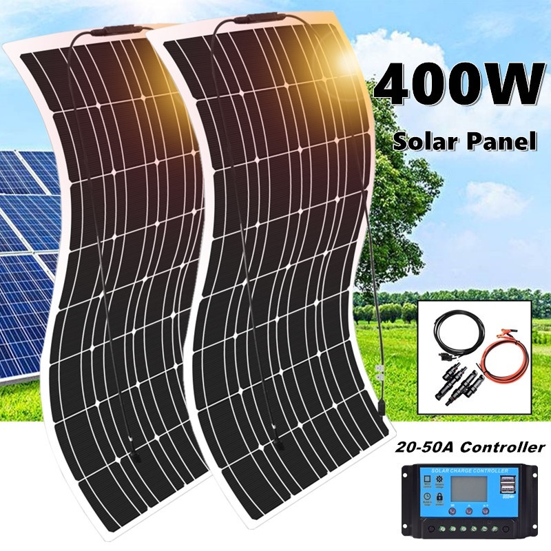 400W 2*200W Flexible Monocrystalline Solar Panel Kit Famous China Solar Panel For Car RV Boat Home Proof 12V Battery Charger