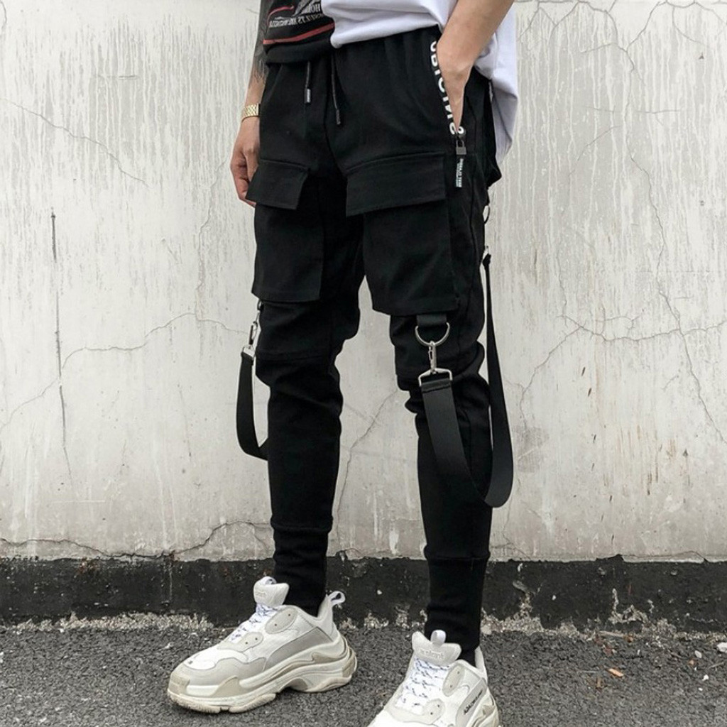 Jogger Men Trousers Pencil Pantalones Cargo-Pant Side-Pockets Patchwork Hip-Hop Ripped title=