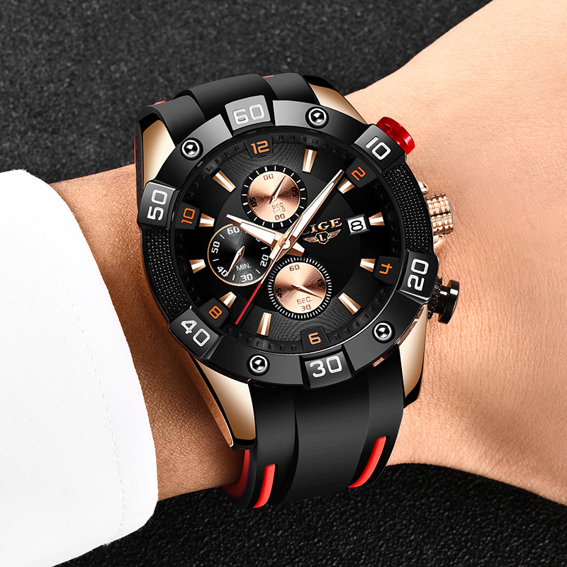 Relogio Masculino LIGE 2020 New Fashion Men Watches with Silicone Strap Top Brand Luxury Sport Chronograph Male Quartz Watch Men