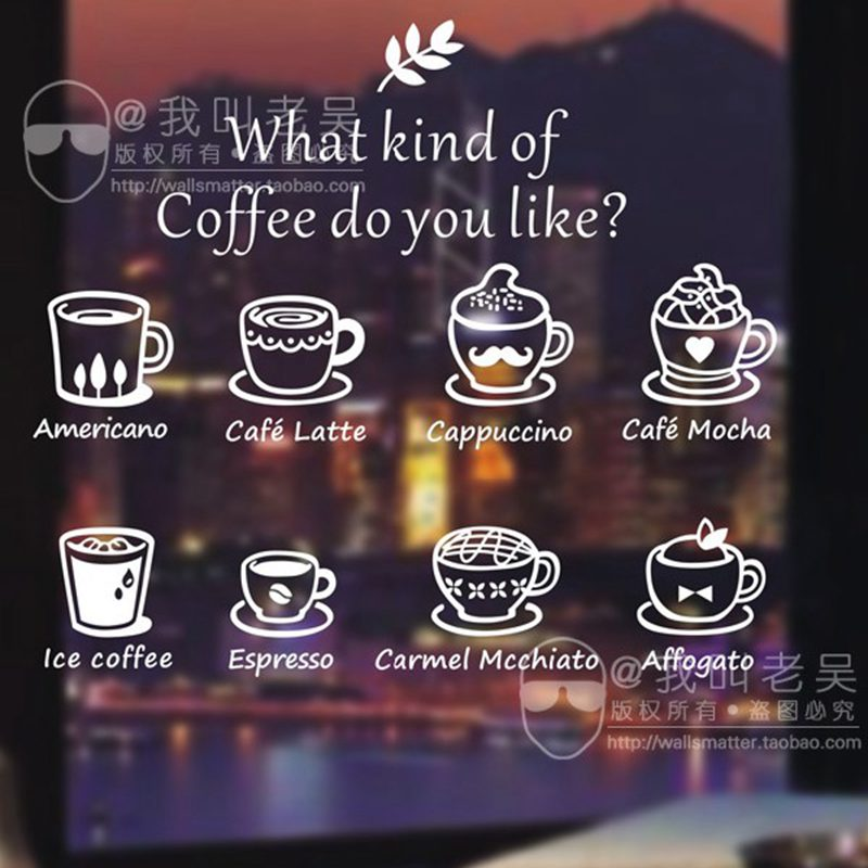Milk Tea Sticker Coffee Shop Decal Cafes Ice Cream Bread Cake Kitchen Wall Art Removable Sticker Decal