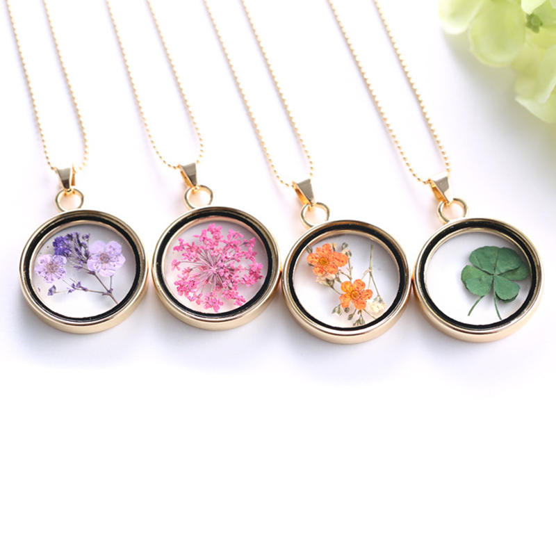 1pc Women Geometric Dried Flower Acrylic Pendant Necklace Charms Chain Jewelry Gift