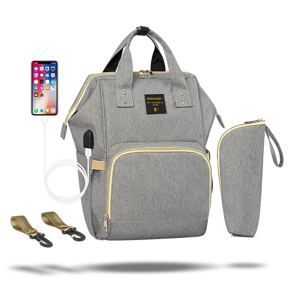 Maternity Diaper Bag Waterproof Fashion Mommy USB Baby Nappy Nursing Backpack 2019 Multifunction title=