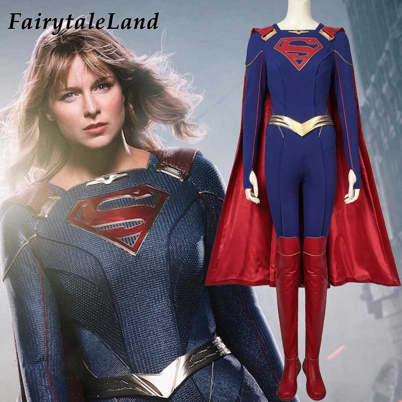 Power Girl Cosplay Costume Kara Zor L Superman Full Size Costume Plus Shoes Suit
